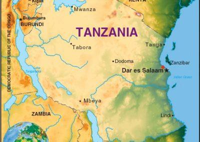 A map of Tanzania and Zanzibar